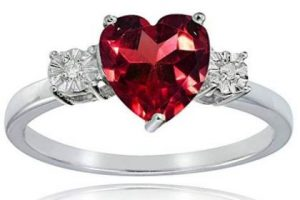Ruby Ring Heart Shaped