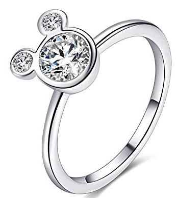 Women's Stainless Steel CZ Mickey Mouse Ring