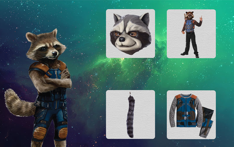 Rocket raccoon costume mask gloves tail and more become a snarky character in rocket raccoon costume solutioingenieria Gallery
