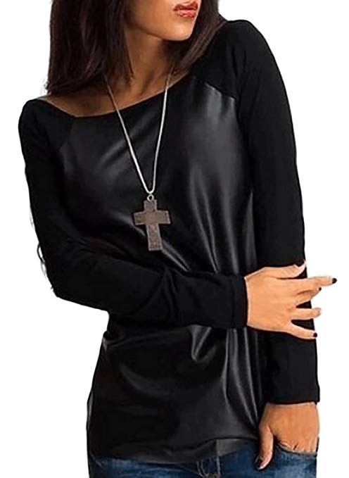 leather black blouse pullover