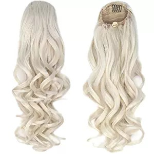 pony tail white curly blonde