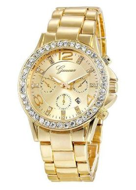 wrist watch golden color