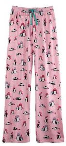 penguin print lounge pants for women