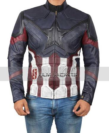 captain america distressed blue jacket
