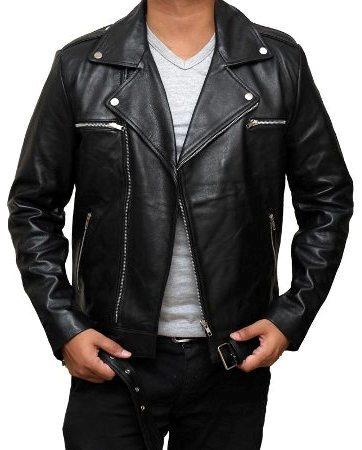biker leather mens jacket