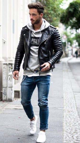 Leather-jacket-with-jeans-and-sweatshirt-hoodie