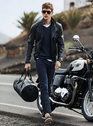 biker traveler with jacket and jeans