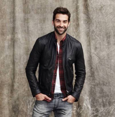 Black leather jacket with red shirt