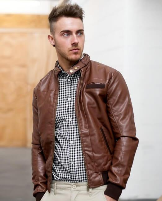 bomber leather jacket brown