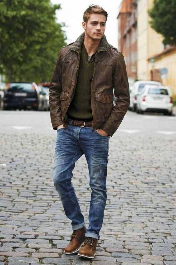 brown-leather-jacket-with-blue-jeans