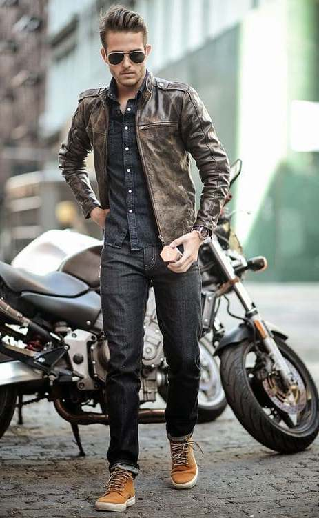 distressed style leather jacket with black jeans