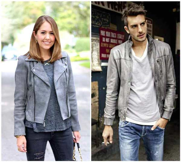 grey leather jacket