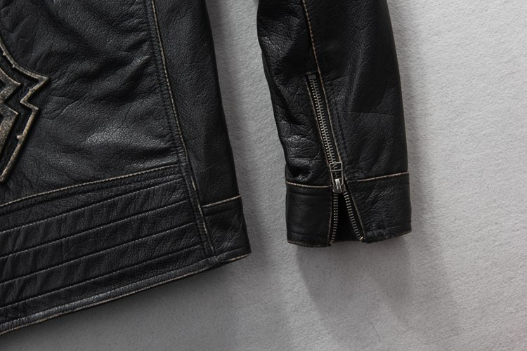 Leather N Leather Genuine Lambskin Leather Moto Biker Jacket Checks