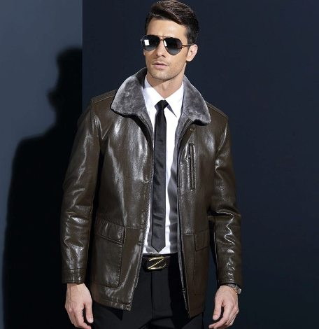 Fur collar utility style jacket