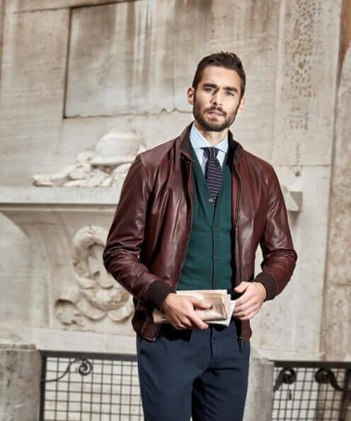 Leather bomber jacket formal