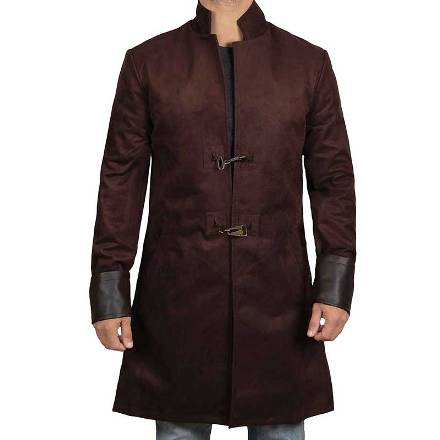 Brown Suede Leather Coat for Mens
