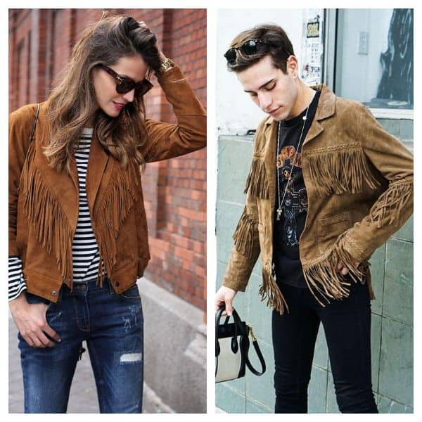 Fringe suede jacket style men women
