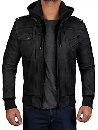black bomber hooded jacket