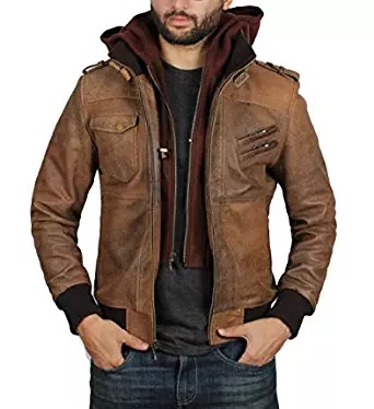 brown bomber jacket hooded
