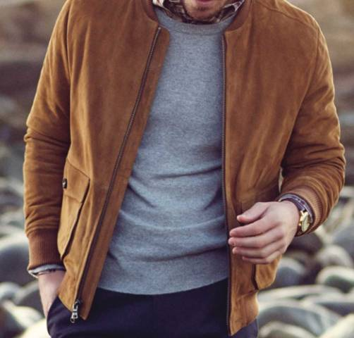brown bomber jacket men