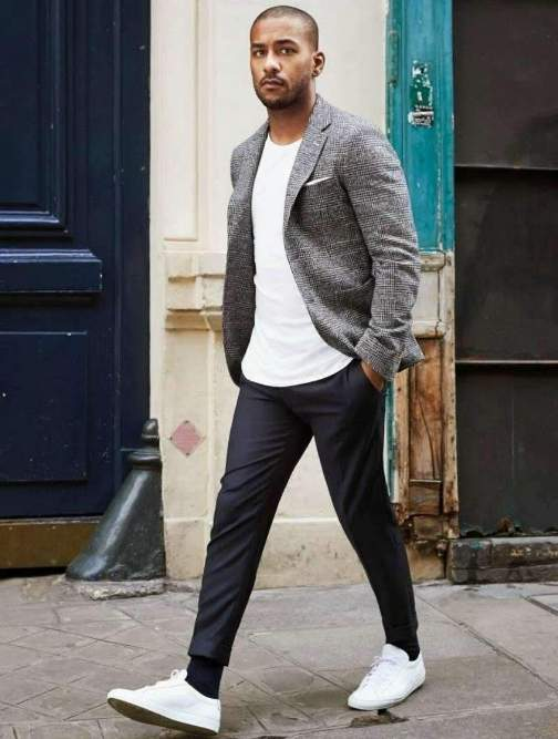 grey blazer with black pants
