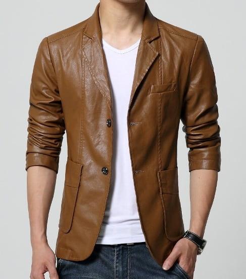 leather blazer men