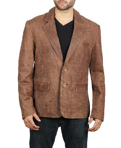 mens brown suede blazer