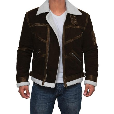 power brown suede jacket shearling