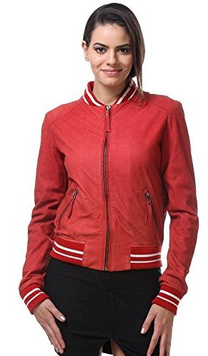 womens red bomber jacket
