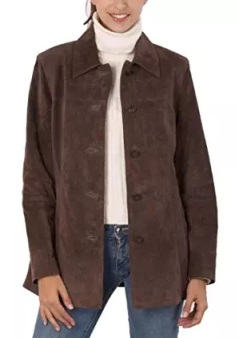 brown suede jacket female collar style