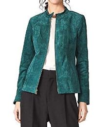 green shirt collar womens jacket suede