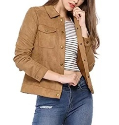 suede jacket female shirt collar