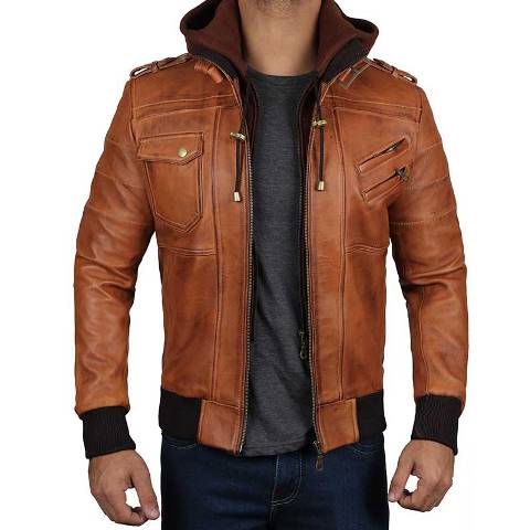 Brown leather jacket bomber style with hood