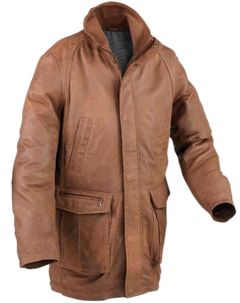Mens long leather coat winter coat