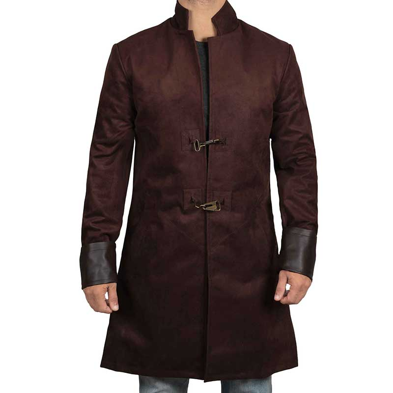 brown suede leather coat for winter