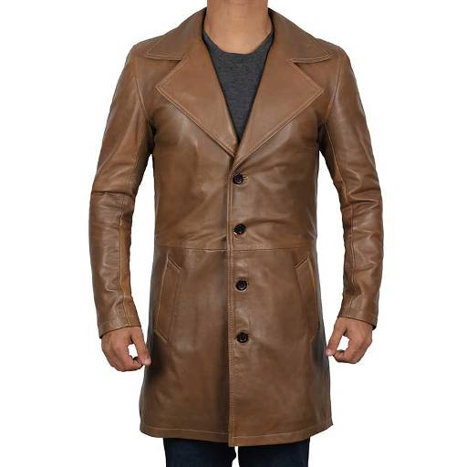 brown winter coat leather