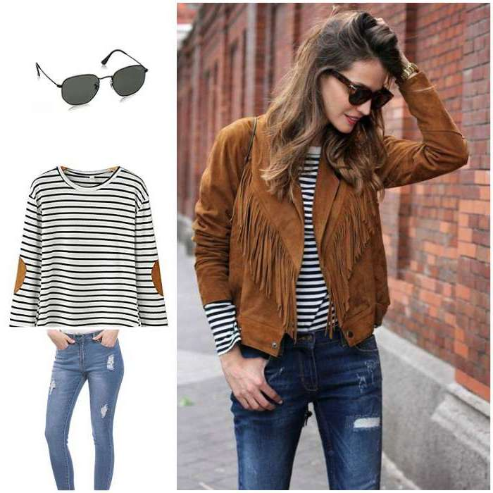women brown fringe jacket suede