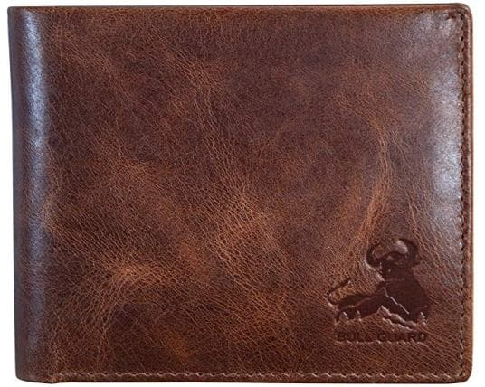 Men real leather brown wallet