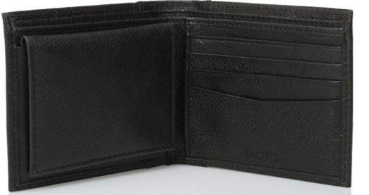 black leather wallet trifold