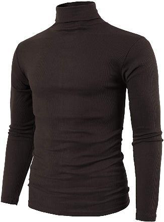 brown turtle neck shirt