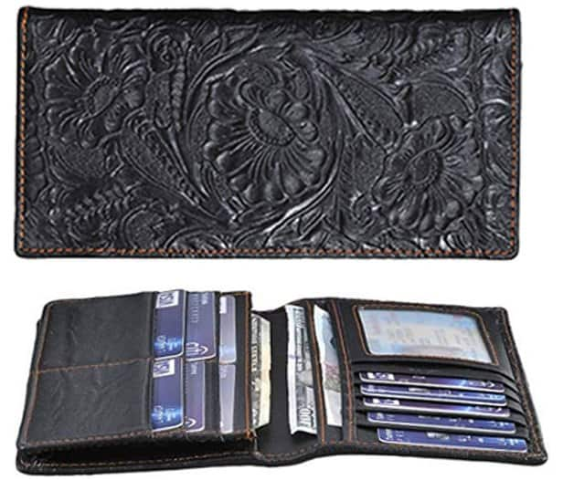 embroidered-black-leather-bi fold wallet