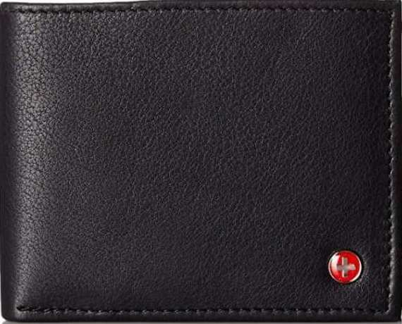 full grain leather wallet for men in black