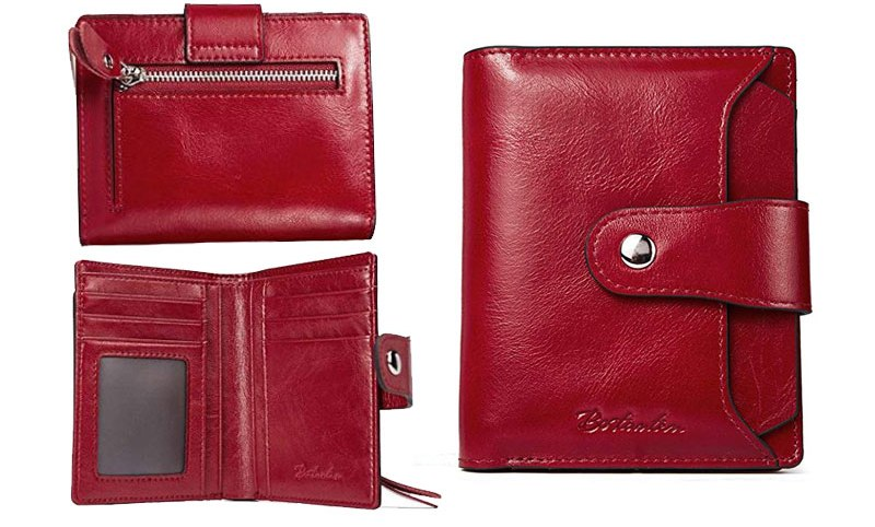 red leather wallet womens