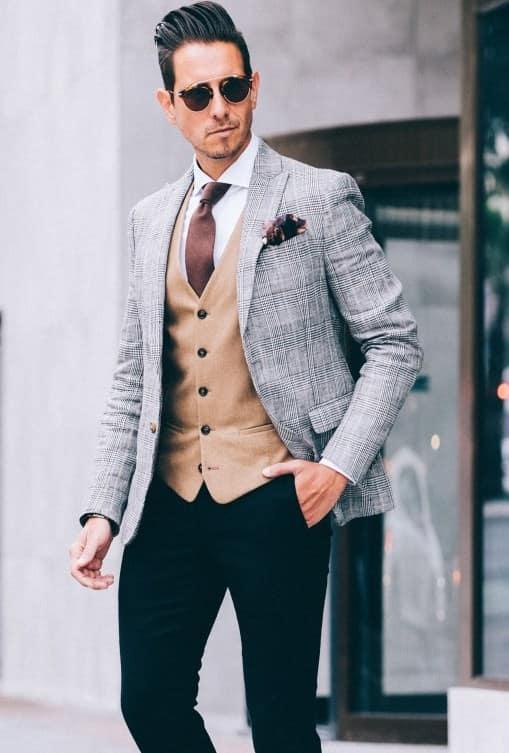 Vest style suit