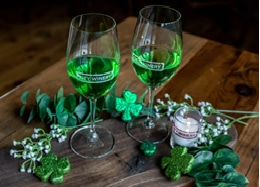 green emerald wine glass