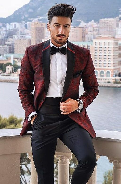 maroon prom suit