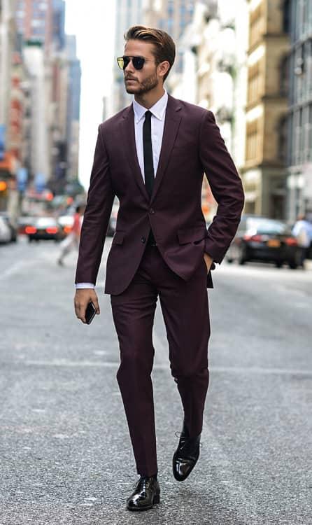 men burgundy tuxedo