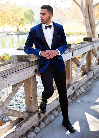 mens blue velvel prom suit