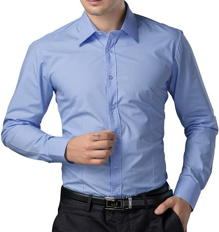 mens formal shirt blue
