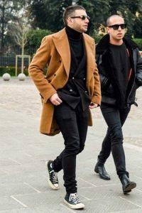 overcoat suit turtleneck large